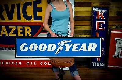 1980's Goodyear Sign Tires Service Tin Garage Gas Oil Station CLEAN Unused Adver