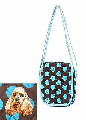 Q small purse COCKER SPANIEL Blue Dot Quilted Fabric Tablet Shoulder Bag