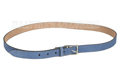 556aa156a98  395 Auth New Gucci Belt 368193 Mens Blue Suede Leather Square Buckle 100    40