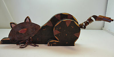 Vintage Art Deco Cat Figure Mix of Wood and Metal Black Distressed Hand Painted