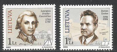 Lithuania 2003 Famous Lithuanians--Attractive Topical (734-35) MNH