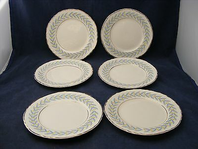 "4 W S George Radisson China 7"" Salad Dessert Plates Yellow Tulip Blue Leaves"