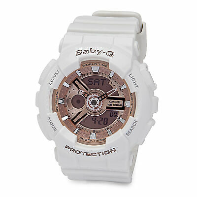 Casio Women's BA-110-7A1CR Baby-G Pink Analog-Digital Watch White Resin Band