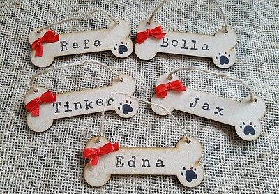Personalised Dog Bone Christmas Tree Hanging Decoration Pet Gift Plaque Signs