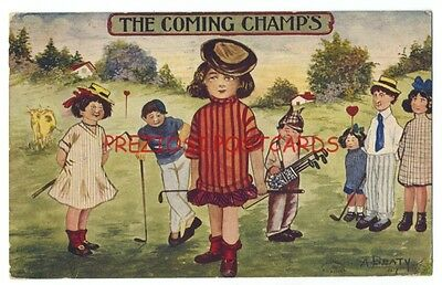 GOLF Humor - FEMALE GOLFERS As COMING CHAMPS 1907 & Commercial Colortype Ad