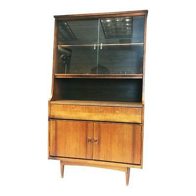 Danish Modern CHINA CABINET Hutch vintage bookcase shelf unit mid century teak