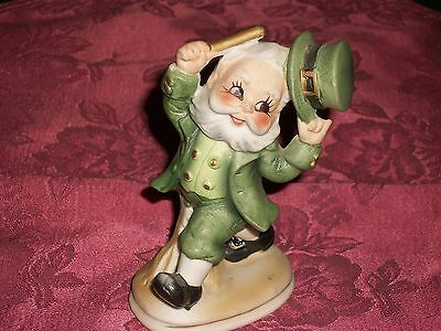 Vintage Lefton Japan Painted Porcelain Leprechaun Figurine w/ Baton 6203 Label