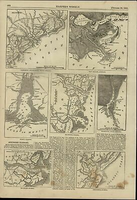 Southern Harbors Maps New Orleans FL GA SC NC 1861 great old print for display