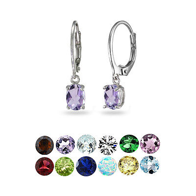 Sterling Silver Birthstone Gemstone 7x5mm Oval Dangle Leverback Earrings