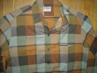 VTG 50 60S MEN MEDIUM McGREGOR LOOP BUTTON COLLAR PLAID STRIPE LONG SLEEVE SHIRT
