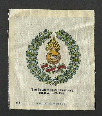 Royal Munster Fusiliers 101st & 104th Foot. Original silk army crest  badge 1914