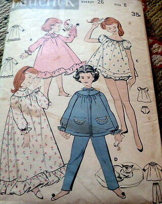 LOVELY VTG 1950s GIRLS NIGHTGOWN   PAJAMAS BUTTERICK Sewing Pattern 8 e8725fb65