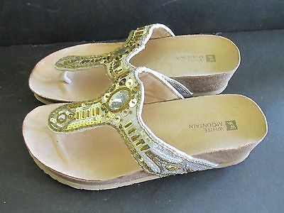3f4c26edecaa Embellished White Mountain Women Bouquet Wedge Thong Sandal White Multi 7 W  WIDE