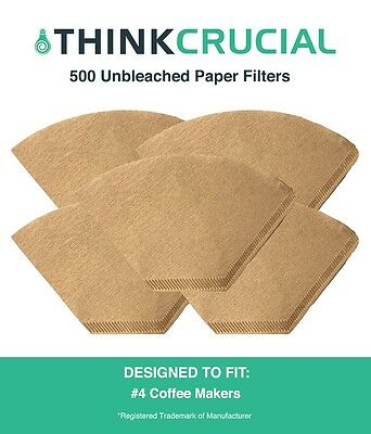 500 Replacements Unbleached Natural Brown Paper #4 Coffee Filters