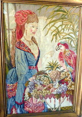 RARE 1870s LARGE Victorian Needlepoint Picture BEAUTIFUL WOMAN & PARROT