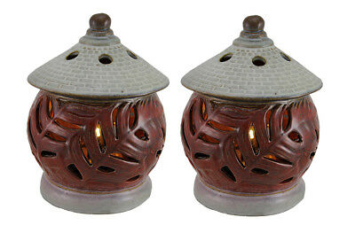Set of 2 Leaf Pagoda Outdoor Rechargeable LED Fragrance Warmers