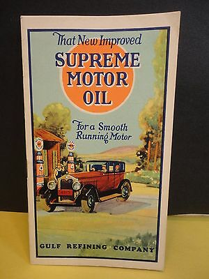 1920s or 30s GULF SUPREME MOTOR OIL Lube Guide Booklet Car Motorcycle Tractor