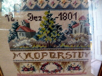 CHARMING Early 20th Century Framed Sampler From an 1801 Example Cross Stitch