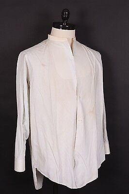 Vtg 20S 30S Cotton Pinstripe Collarless Dress Shirt Usa Mens Large