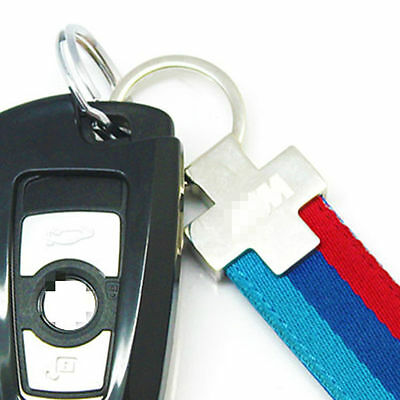 M-Colored Stripe Nylon Band Inner Leather ///M Keychain BMW Key Ring For Bimmer