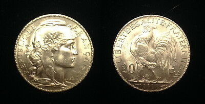 French Rooster 20 Gold Franc 1911--GEM BU FLAWLESS COIN--WW-I GOLD--- STUNNING