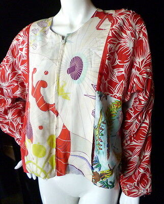 UNUSUAL Vintage 1940s Silk Jacket Bomber Style GREAT DESIGNS! Hawaii Art Deco