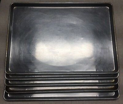 "LOT OF 5-17 3/4"" x 25 3/4"" FULL SHEET BAKING PANS-SEASONED LOT FROM PIZZA SHOP"