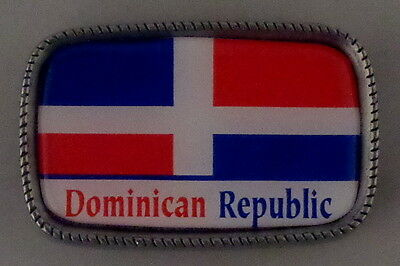 DOMINICAN REPUBLIC DR FLAG Antique Silver Belt Buckle USA MADE