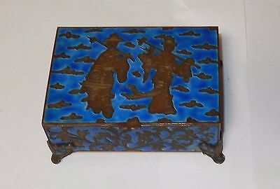 Rare 19Th Century Chinese Cloisonne Repousse Blue Enamel Humidor Footed Jar Box