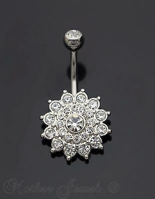 Silver Surgical Steel Simulated Diamond Dahlia Flower Cluster Belly Navel Ring