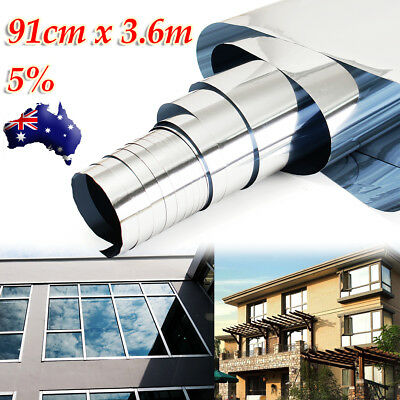 5% Tint SILVER WINDOW FILM Privacy Sticker One Way Mirror Removable 90cmX 3.6m