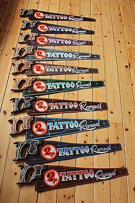 2p Tattoo Removal Rusty Vintage Saw Sign Plaque Man Cave VW Bar Shop Barber