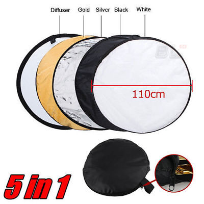"110cm 43"" 5-in-1 Photo Photography Studio Light Collapsible Reflector + Case"