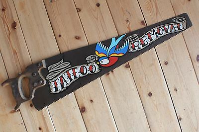 Swallow Gypsy Art Tattoo Removal Rusty Saw Sign Plaque Barber Shop VW Man Cave
