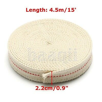 "7/8"" 2.2cm Flat Cotton Wick 15 foot roll Oil Lamp Wick and Lanterns Wick New FA"