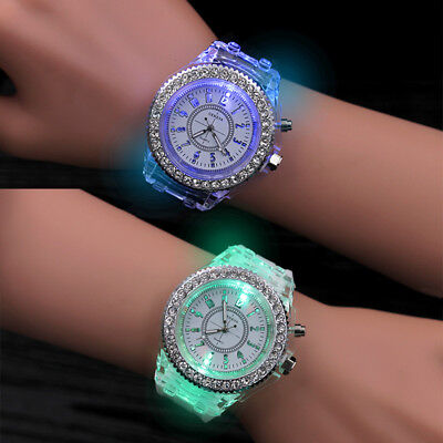 Cartoon LED Light Silicone Jelly Band Wrist Watch for Kid Children Boys Girls