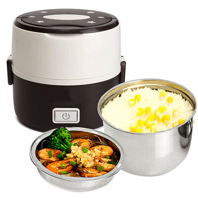 1.3L 2 Layer Electric Portable Lunch Box Rice Cooker Steamer Pot Stainless Steel