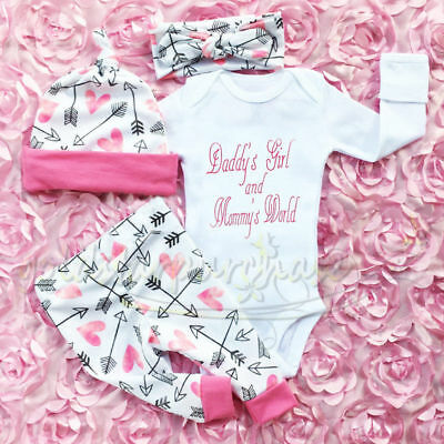 Newborn Baby Girls Outfit Clothes Romper Jumpsuit Bodysuit Pants Hat Headband UK
