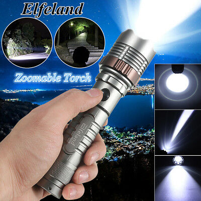 Elfeland 20000LM Tactical Military T6 LED Rechargeable Zoomable Flashlight Torch