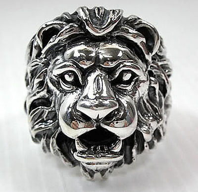 Big Lion Head Leo Big Heavy 925 Sterling Silver Mens Biker Ring Jewelry New