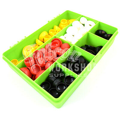 120 Assorted M6 Security Nut Cover Caps & Bases For Bolts White Black Red Yellow