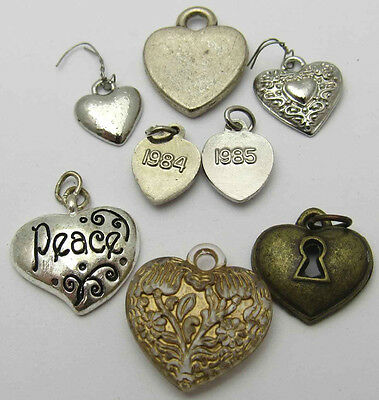 Vintage Lot Of 8 Heart Charms Rhinestones Plastic Small Brass Tone Silver Tone