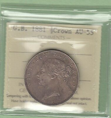1881 Great Britain 1/2 Crown Silver Coin - ICCS Graded AU-55