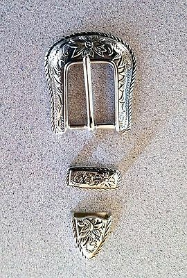 Western Silver Floral & Rope Edge 3 piece Belt Buckle Set New