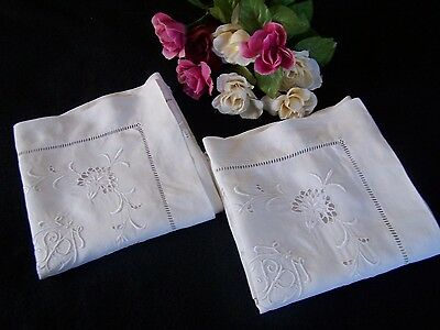 """Gorgeous Pair Antique Vtg Embroidered FRENCH PILLOWCASES Monogram SP 2"""" Flange"""