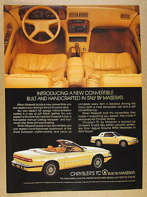 1989 Chrysler TC by Maserati convertible coupe photo vintage print Ad