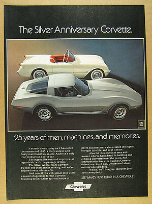 1978 chevy Corvette Silver 25th Anniversary Model color photo vintage print Ad