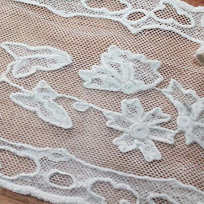 Antique Off-white cotton handmade embroidered lace border or runner