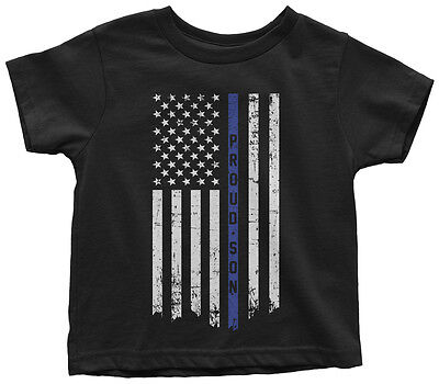 Proud Son Thin Blue Line Flag Toddler T-Shirt American Police Officer