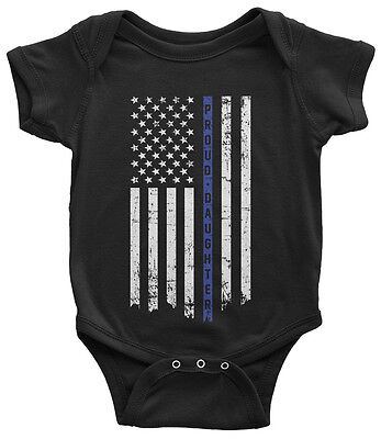 Proud Daughter Thin Blue Line Infant Bodysuit American Police Officer
